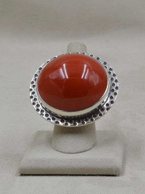 Red Cueball Bakelite in Sterling Silver 7x Ring by Melanie DeLuca