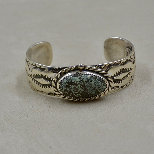 Candelaria Spiderweb Turquoise & Sterling Silver Cuff by James Saunders