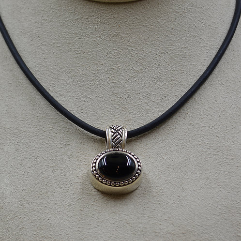 Onyx and Sterling Silver Triple Weave Pendant by JL McKinney