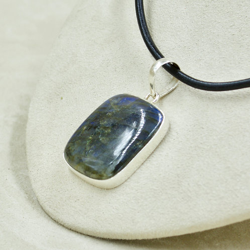 Medium Rectangle Labradorite & Sterling Silver Pendant by Sanchi & Filia