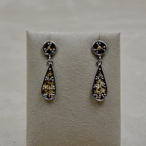 Argentinian Silver and 22k Gold Small Teardrop Earrings by Michele McMillan