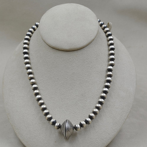 Oxidized Sterling Silver 8mm Necklace w/ Quarter Enclosure by Maggie Moser