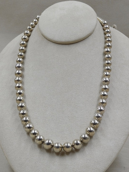 Graduated Bright S. Silver 8-13mm Handmade Beads Necklace by Lapidary Mastery