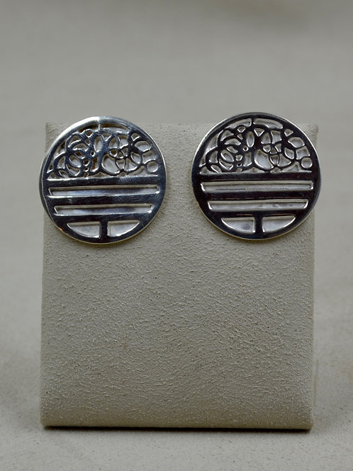 S. Silver Hand-forged Maker's Mark Discs Earrings by Tchin