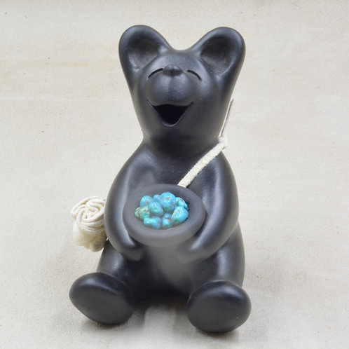 Mini Black Bear Sitting w/ Bowl of Turquoise Nuggets by Randy Chitto