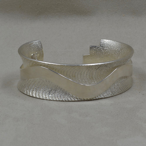 Sterling Silver Cuttle Cast Cuff w/ Floating SS Ribbon by Althea Cajero