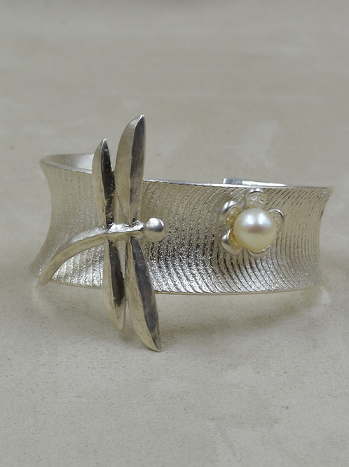 SS Cuttlebone, w/ SS Dragonfly & White Cultured Pearl Cuff by Althea Cajero
