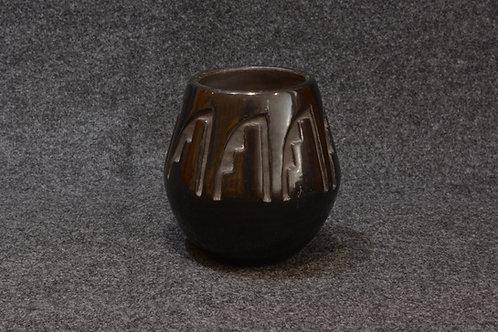 Carved Kiva Step Pot by Francis Chavarria, Santa Clara Pueblo