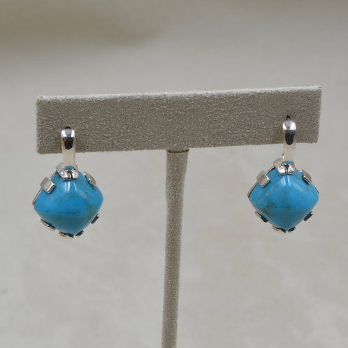 Kingman Turquoise & S. Silver 14mm Sugarloaf Cabs Earrings by Reba Engel