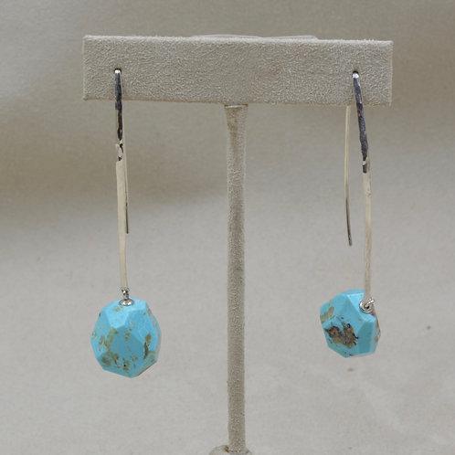 Kingman Turquoise & Sterling Silver Nuggets Earrings by Reba Engel