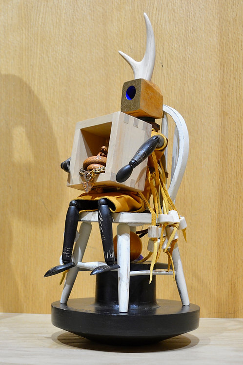 Magic Figure on Chair with Snake Mixed Media Sculpture by Melanie DeLuca