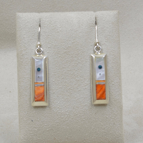 Rectangular Mother of Pearl w/ Spiny Oyster Earrings by Veronica Bena