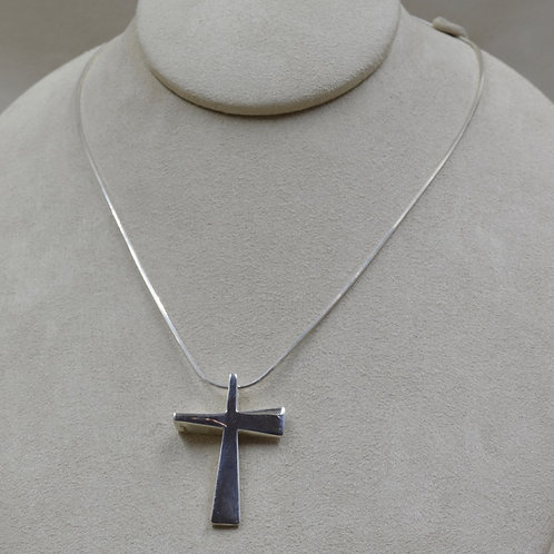 S. Silver Medium Trinity Cross Hollow Necklace by Charles Sherman