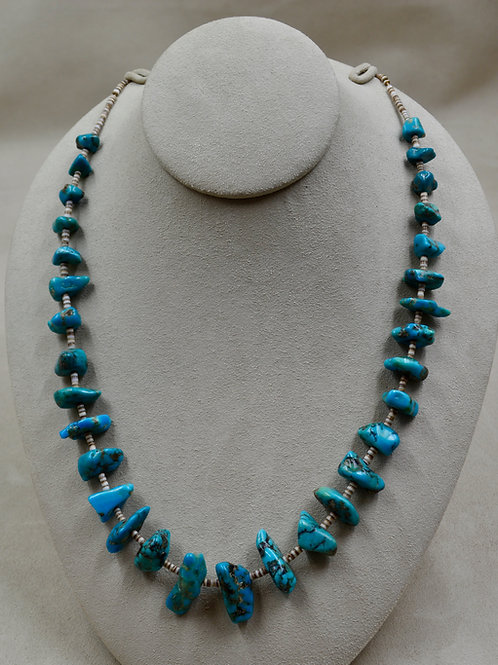 """Vintage Santo Domingo Style Blue/Green Turquoise Nugget Heishi 34"""" Necklace"""