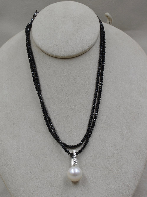Black Spinel Necklace & S. Silver Oxidized Toggle w/ Hematite by Reba Engel