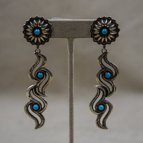 Double Raven Concho Top Turquoise Earrings by Gregory Segura