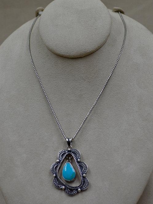 Hi-Grade Kingman Turquoise Pendant on Silver Chain by Michele McMillan