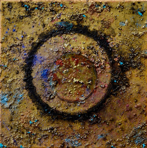 """Ceremonial Sun Series"" - Ac/Mixed on Canvas - 8"" x 8"" - by Doug Coffin"