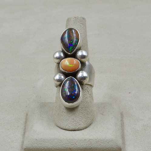 Mexican Fire Opal, Boulder Opal, S. Silver 7x Ring by Jerry Faires