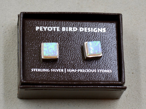 3-D Large Square Lab Opal Post Earrings by Peyote Bird Designs