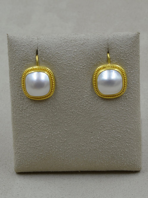 22k Granulated Gold w/ Square Mabe 11mm Pearls Earrings by Pamela Farland
