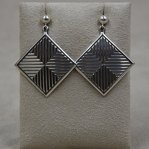 Sterling Silver Bordered Square Earrings by Steve Taylor