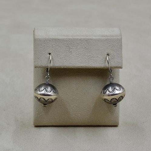 Navajo Pearl Oxidized Sterling Silver One Ball Dangle Earrings