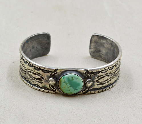 Sterling Silver Ingot Cuff w/ Stab Royston Turquoise by Red Rabbit Trading Co.