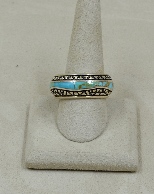 Kingman Turquoise & Sterling Silver 12x Ring by GL Miller Studio