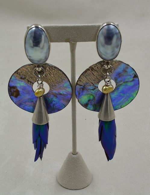 Beetle Wings, Mabe Pearl & Shell Earrings by Melanie DeLuca
