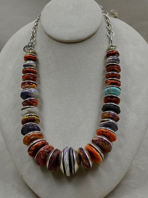 S. Silver Handmade 1/2 Beads w/ Wampum, Quartz, Seaglass Necklace by Tchin