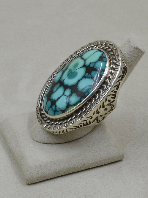 Large Tibetan Turquoise w/ Twisted Wires & Stamped 9x Ring by Melanie DeLuca