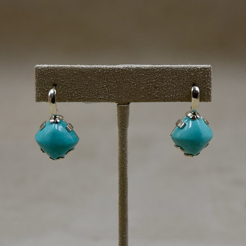 Kingman Turquoise and Sterling Silver Cabs Earrings by Reba Engel
