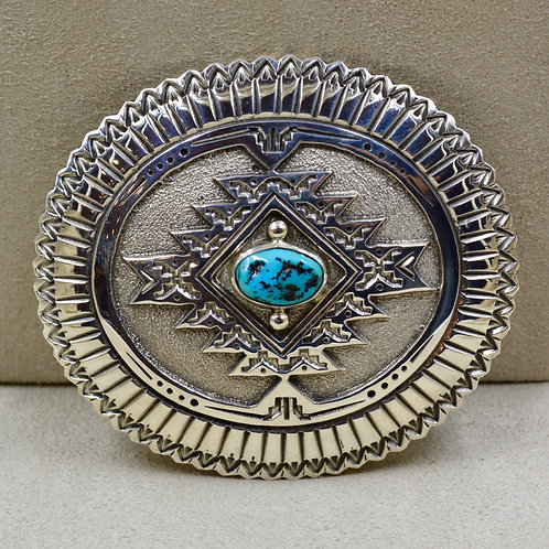 Natural Kingman Turquoise & Sterling Silver Belt Buckle by Jefferson Brown
