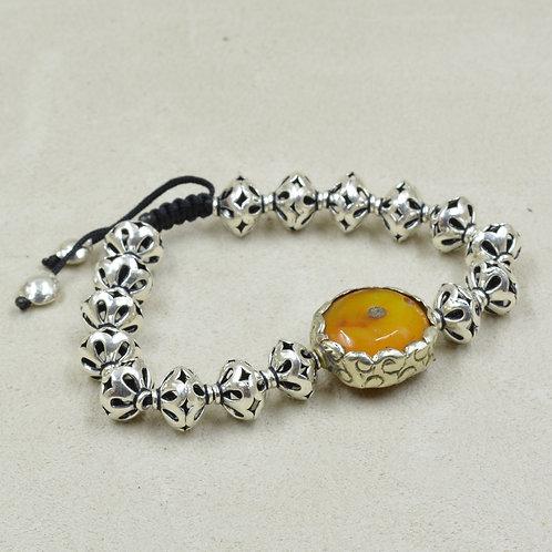 Meditation Bracelet w/ Thai Fine Silver, Amber, S. Silver, Brass by True West