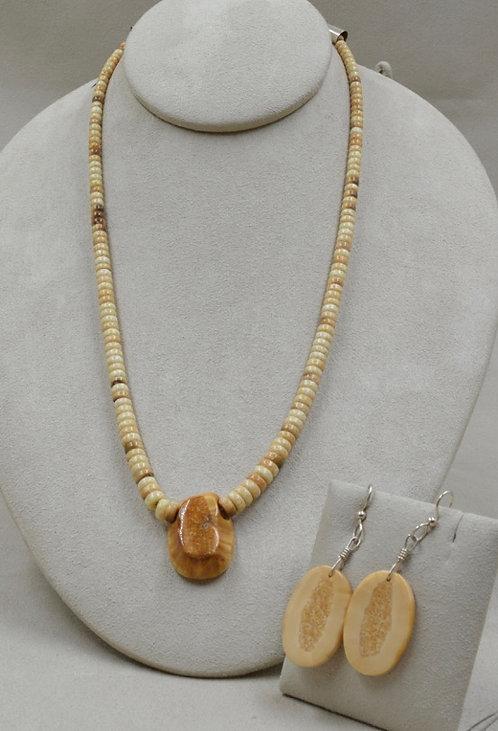 Fossilized Walrus Tusk w/ Mesa Naranja Center -Set- by Lapidary Mastery