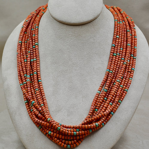 10 Strand Sponge Coral, NevadaTurquoise, Olive Shell Necklace by Kenneth Aguilar