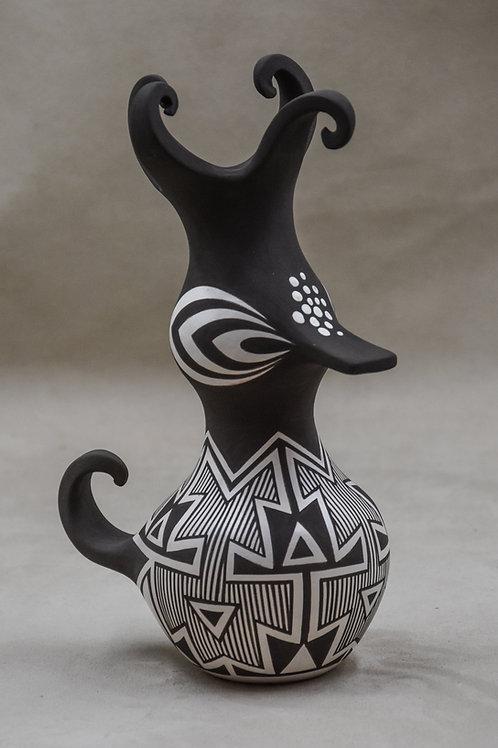Small Black and White Duck Pot by Anderson and Avelia Peynetsa