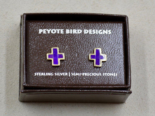 Sugilite & 14k Gold Post Earrings by Peyote Bird Designs
