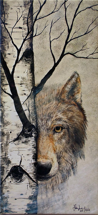 "Large 'Silent Watch' - Wolf Giclee - 26"" x 12"" x 2""- by John Saunders"