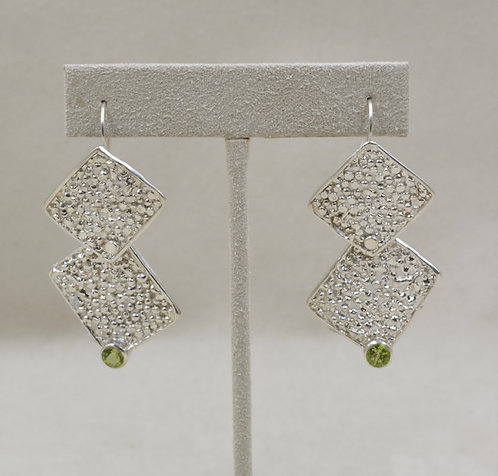 Sterling Silver Double Square Peridot Earrings by Michele McMillan