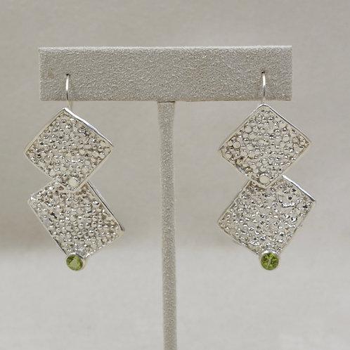 Sterling Silver Double Square Peridot Earrings by Michele McMillan
