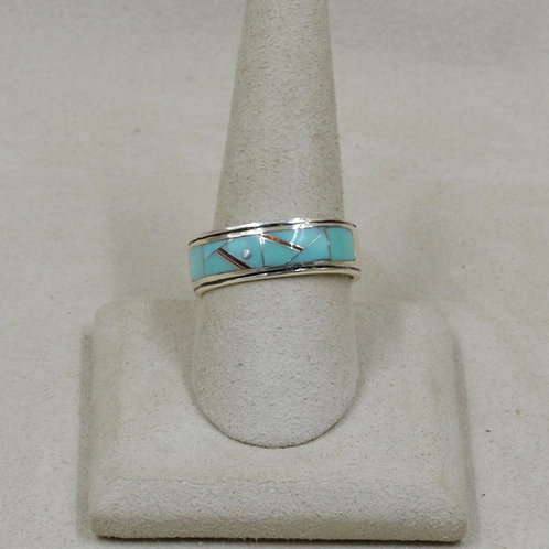 Campitos Turquoise, Red Lab Opal 10x Ring by GL Miller