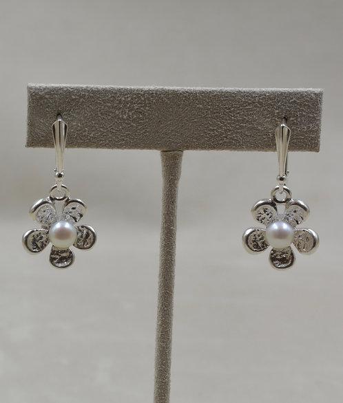Sterling Silver & Freshwater Pearl Flower Earrings by Althea Cajero