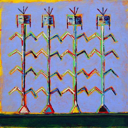 """Organic Corn"" - Acrylic on Panel - 4"" x 4"" - by Rhett Lynch"