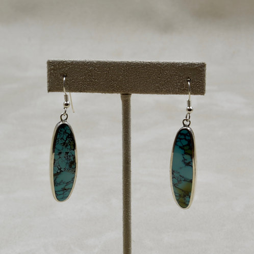 Hubei Turquoise & Sterling Silver Curved Earrings by Tim Busch
