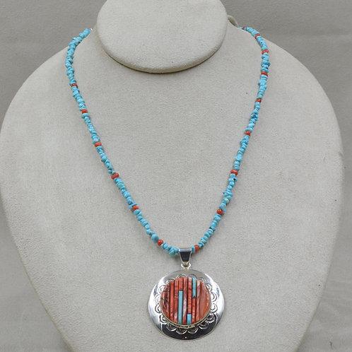 Round Cornroll Pendant on Beaded Necklace by Veronica Benally