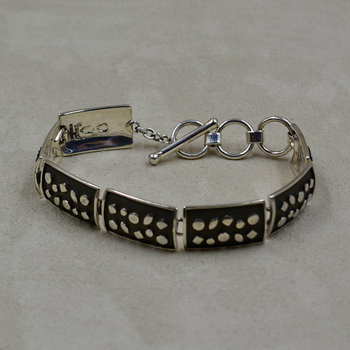Oxidized Sterling Silver 6 Link w/ Raised Shape Rectangles Bracelet