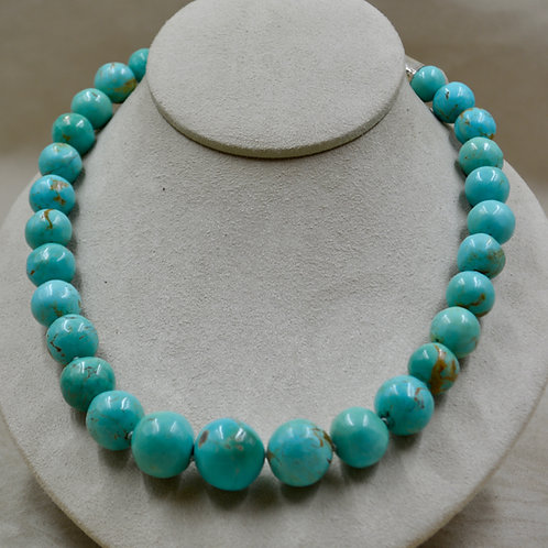 Handmade Beads of Natural Turquoise & Sterling Silver Necklace