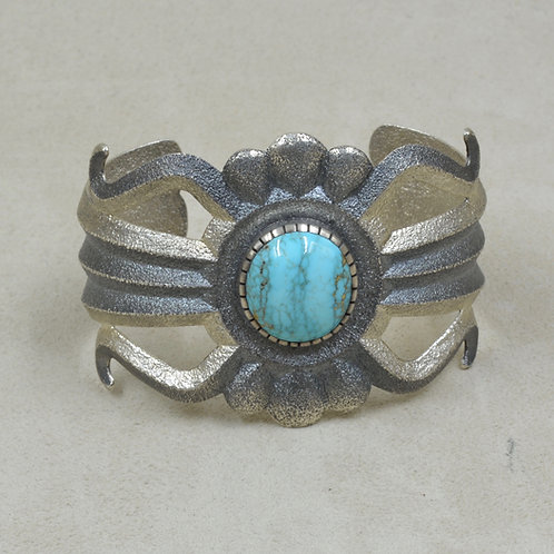 Sterling Silver Tufa w/ Red Mountain Blue Turquoise Cuff by Ric Charlie
